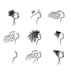 Set of female hairstyle sketch for your design vector image