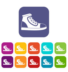 athletic shoe icons set vector image