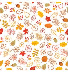 autumn leaves seamless pattern leaf icon set vector image