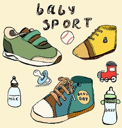 Baby shoes set sketch handdrawn in color vector