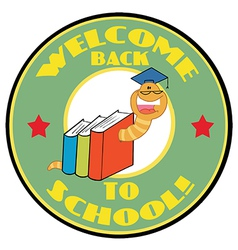 Bookworm With Text Back to School vector image