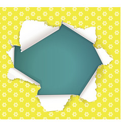 Broken hole in yellow paper in flowers place vector
