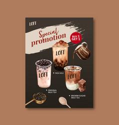 Brown sugar bubble milk tea set poster ad flyer vector