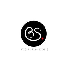 Bs handwritten brush letter logo design vector
