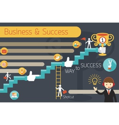 Business Concept Stairway to Success Infographic vector image