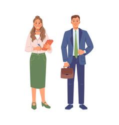 businessman and businesswoman cartoon people set vector image