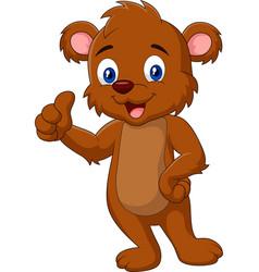 cartoon teddy bear giving thumb up vector image