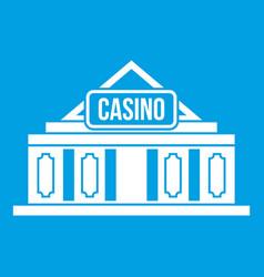 casino building icon white vector image
