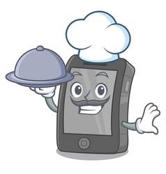 Chef with food ipad on a wooden cartoon table vector