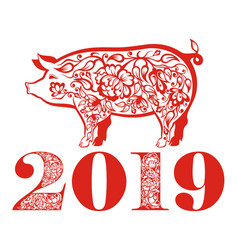 chinese new year greetings card with red pig vector image