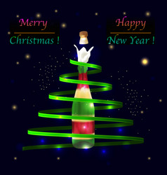 christmas tree with champagne bottle vector image