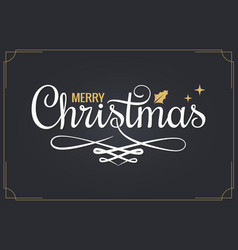 christmas vintage lettering with merry xmas sign vector image