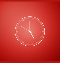clock icon isolated on red background time icon vector image