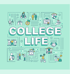 College life word concepts banner vector