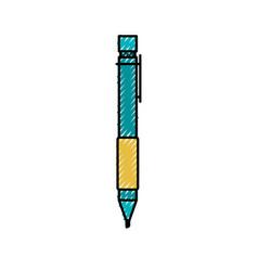 Colored crayon silhouette of pen icon vector