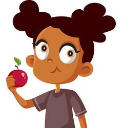 cute african girl eating an apple cartoon vector image