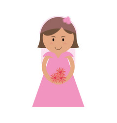 cute bride in pink icon image vector image