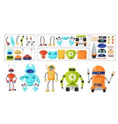 Cute robot cartoon character set flat vector