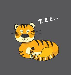 cute tiger sleeping cartoon animal baand vector image
