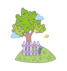 cute tree plant with fence scene vector image