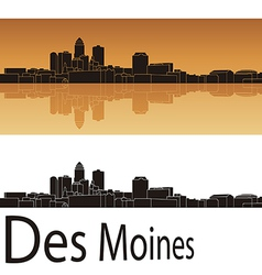 Des Moines skyline in orange background vector