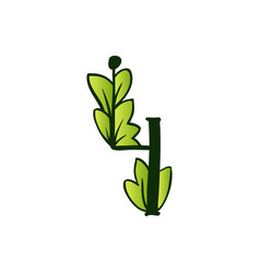 Doodling eco alphabet four numbertype with leaves vector