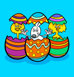 Easter bunny and chickens cartoon vector