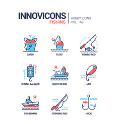fishing - modern line design style icons set vector image