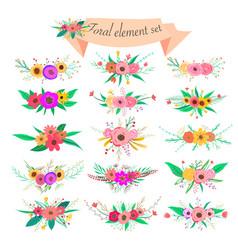 floral element set decorative flower and leaf vector image