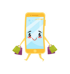 Funny humanized smartphone walking with shopping vector
