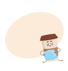 Funny sleepy paper coffee cup character with a vector