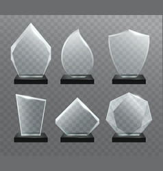 Glass transparent trophy awards vector