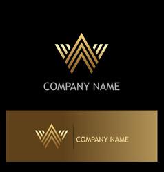 gold letter w line logo vector image
