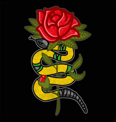 gold snake with rose vector image