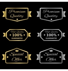 Golden and silver labels vector image