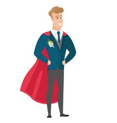 Groom wearing a red superhero cloak vector