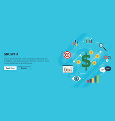 growth chart startup success concept with icons vector image