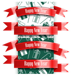 happy new year ribbon set and seamless pattern vector image