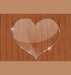 heart glass plate on wooden background vector image