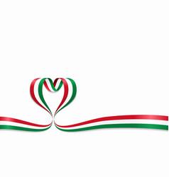 hungarian flag heart-shaped ribbon vector image