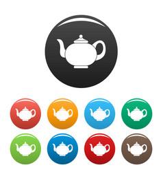 kitchen teapot icons set color vector image