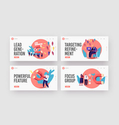 Lead generation landing page template set tiny vector
