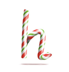 Letter h 3d realistic candy cane alphabet vector