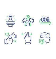 Like queue and brand ambassador icons set vector