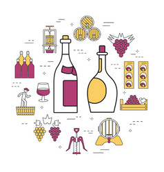 Linear concept white and red wine vector