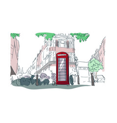 london red phone booth watercolor street view vector image