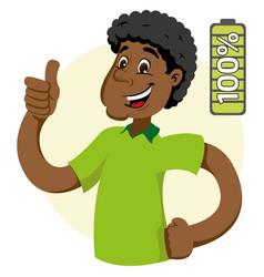 Mascot ben man person afro descent 100 percent vector