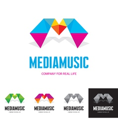 Media music - logo sign concept vector image