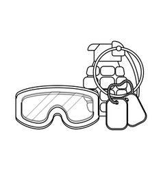 Military goggles with grenade and dog tag plate vector