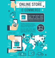 Online store and e-commerce internet technology vector